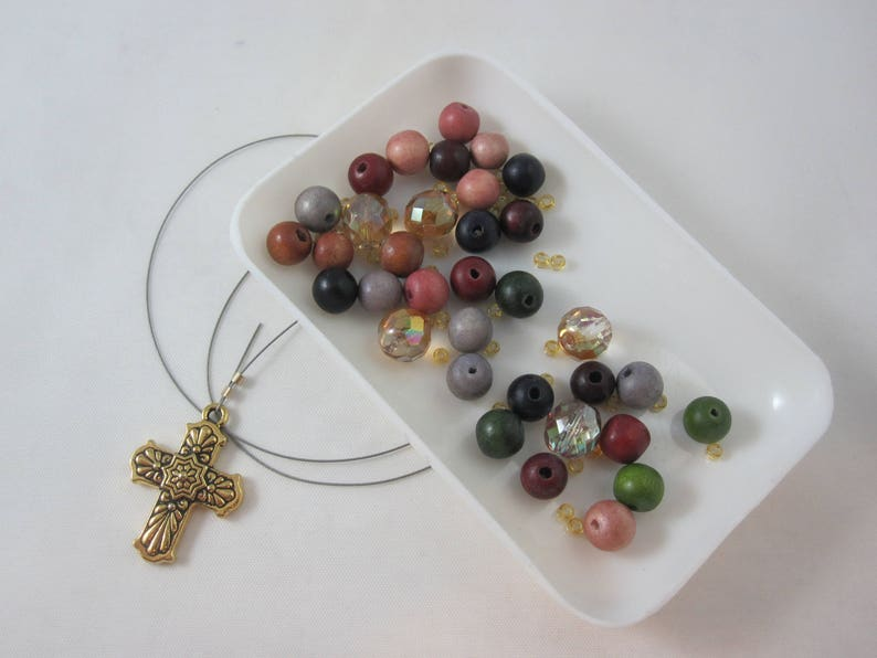 Multicolored Wood and Amber Fire-Polished Glass DIY Prayer Bead Kit