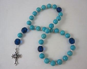 Turquoise Riverstone and Dark Aqua Fire-Polished Glass Prayer Beads