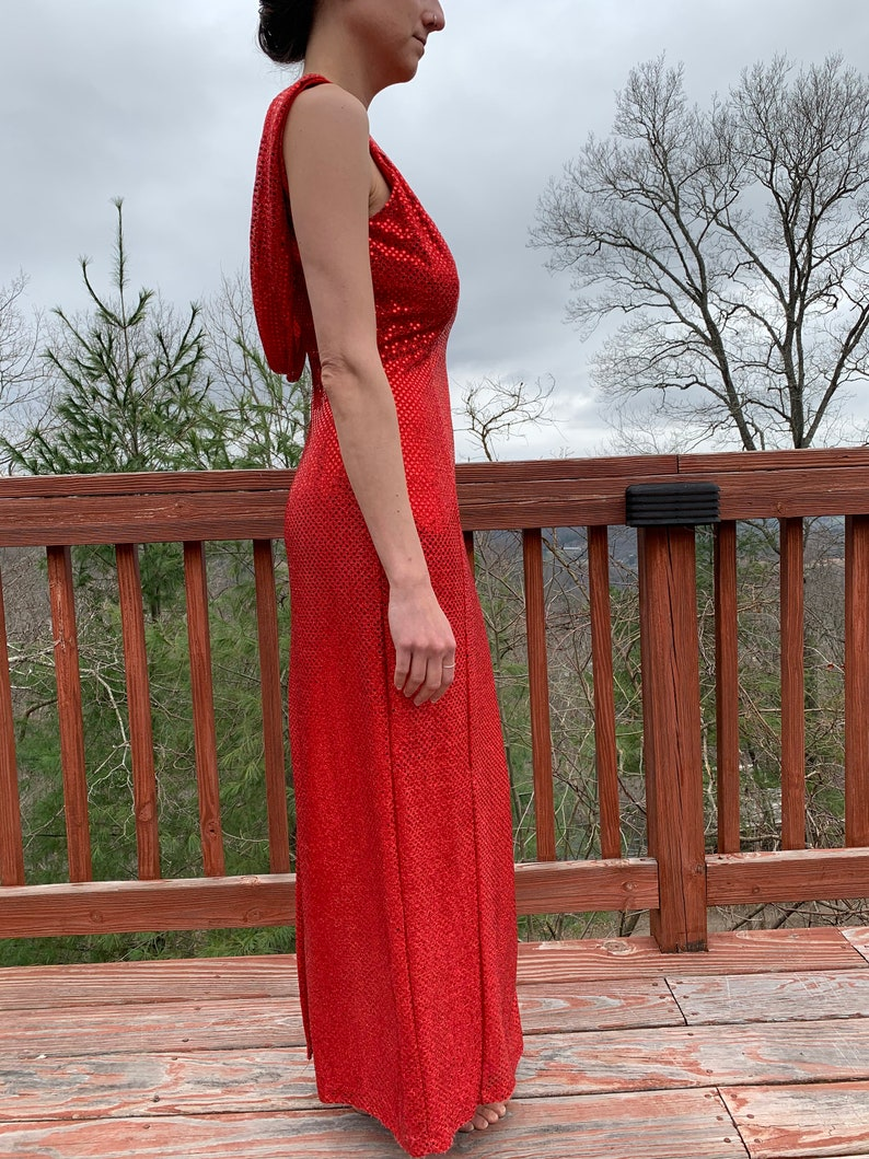 Prom Dress Vintage 70s Dress Evening Gown Maxi Dress Red Sequin Dress size Small Open Back