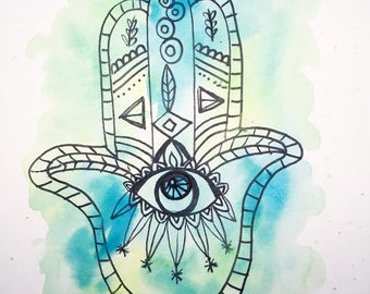 Hamsa Hand 1 - Watercolor and Ink on Paper