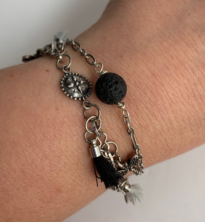 Calla Lily Charm Charm and Tassel Bracelet in Silver and Black  7 12 Length Dragonfly Charm Gingko Charm
