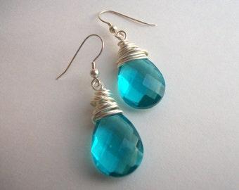 Silver Wire Wrapped Aqua Drop Earrings. Simple, Bold, Modern.