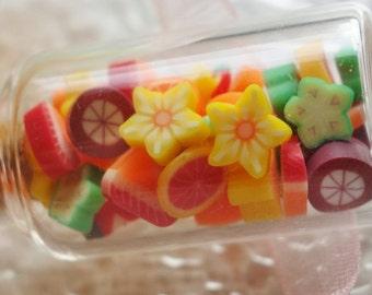 Miniature Fruit Slices Glass Jar Necklace - Bottle Necklace - Picnic Summer Jewelry - Mangosteen, Orange, Starfruit, Grapefruit, Strawberry