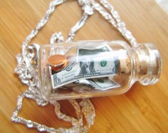 Tip Jar Necklace  - Money in a Bottle - Green Label - Sterling Silver Chain - Waiter, Bartender, Barista