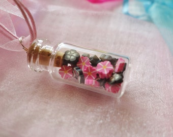 Garden Necklaces  - Miniature Glass Jar Necklaces with Clay Shapes - Spring Summer Birthday Garden Nature Party Favors