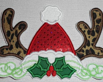 Santa Hat Antlers Ready to Ship Free Shipping Machine Embroidery iron on applique