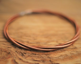 Bangle Bracelet, Piano Wire Bracelet, Bangle, Gift for Pianist, Piano Gifts, Copper Bracelet, Recycled Jewelry, Piano Teacher, Piano Student