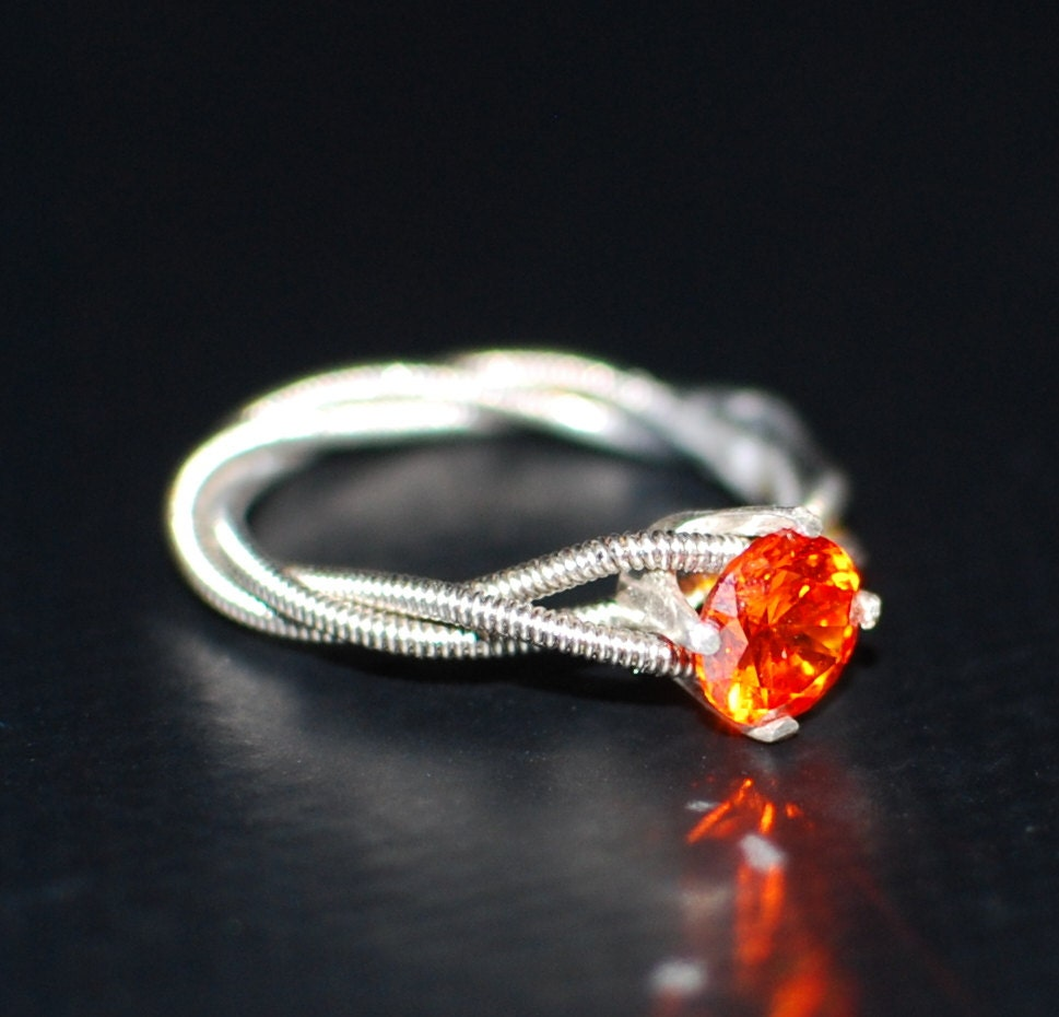 flames of passion guitar string purity or engagement ring etsy. Black Bedroom Furniture Sets. Home Design Ideas