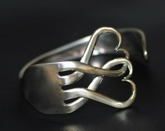 Intertwined Hearts Silver Plated Fork Bracelet
