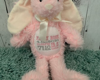 PINK Plush embroidered Birth stat Bunny