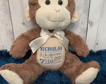 Plush Embroidered Birth Stats Monkey