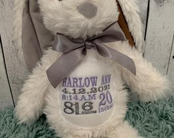 WHITE Plush embroidered Birth stat Bunny