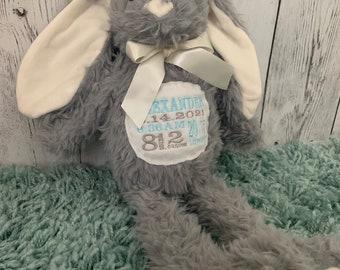 GRAY Plush embroidered Birth stat Bunny
