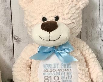 Plush Embroidered Birth Stats Bear - Cream