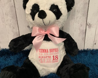 Plush Embroidered Birth Stats Panda Bear