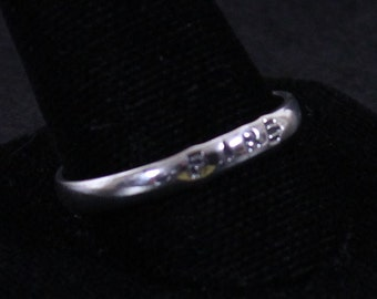 Sterling silver stackable ring stamped FIRE