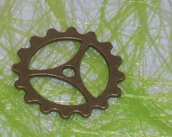 8 breloques pendentif engrenages rouage pignon steampunk bronze 2.3 cm