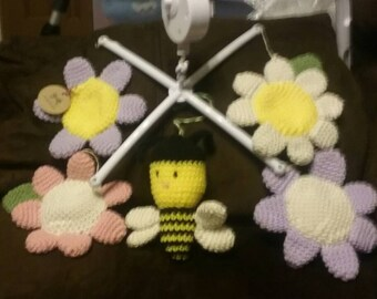Baby mobile flowers and bee