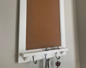 Modern Style Corkboard Bulletin Board Family Planner Kitchen or Home Decor Office Organizer with shelf and key hooks