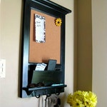 Wall Mail Organizer Furniture Wood Framed Cork Bulletin Board or Chalkboard with Mail Slot, Storage, Keyhook, Home Decor, coat hook, Shelf