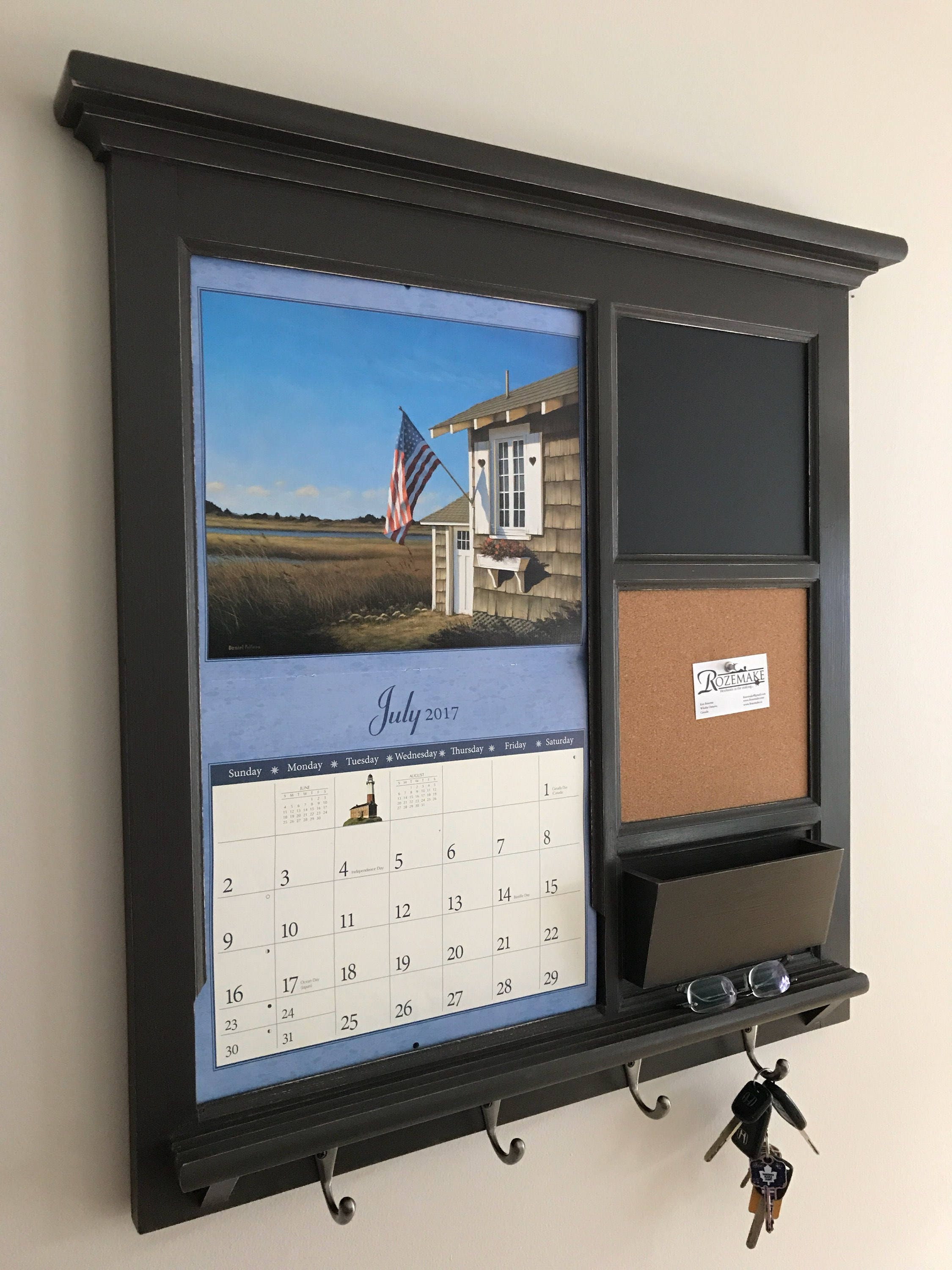 Home Decor Wall Calendar Front Loading Mail Organizer