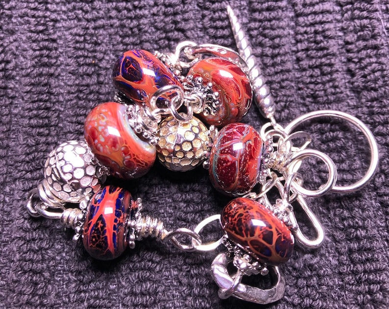 Girliegirlglass handmade lampwork bead and sterling silver beaded bracelet
