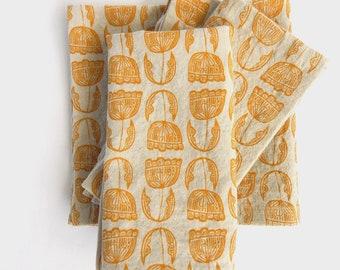 Cloth Napkins, Floral, Modern, Mustard, Handprinted, Natural Linen and Cotton Napkins, Set of 4