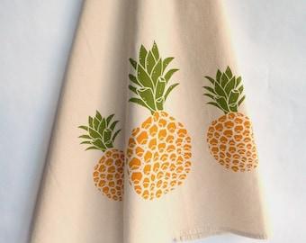Kitchen Towel, Pineapple, Handprinted, Natural Cotton