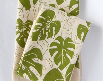 Kitchen Towel, Hand Printed, Monstera, Moss Green or Periwinkle, Natural Cotton