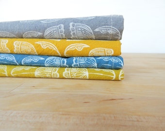 Cloth Napkins, Hand Printed Floral, Set of 4, Organic Cotton, Choose Your Colors