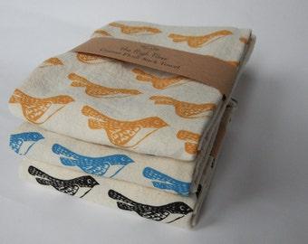 Kitchen Towel, Hand Printed Towel, Bird Kitchen Towel, Cotton, Choose Your Color