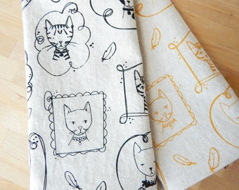 Cloth Napkins, Hand Printed Cats, Set of 4 Natural Linen / Cotton Blend
