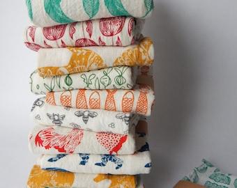 Kitchen Towels, Hand Printed, Choose Your Set of 6, Hostess Gift, Housewarming Gift, Zero Waste, Zero Waste Gift, Handmade Kitchen Towel Set
