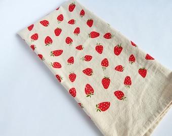 Kitchen Towel, Hand Printed, Strawberries, Strawberry Kitchen Towel, Cotton Towel