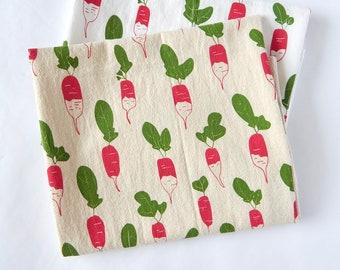 Kitchen Towel, Hand Printed, Radishes, Natural Cotton