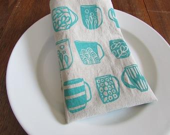 Cloth Napkins, Hand Printed Mugs, Turquoise, Set of 4