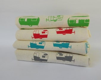 Flour Sack Towel, Hand Printed, Campers, Cotton