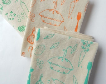 Tea Towel, Hand Printed, Veggie Pot Pie Print, 3 Natural Cotton Towels
