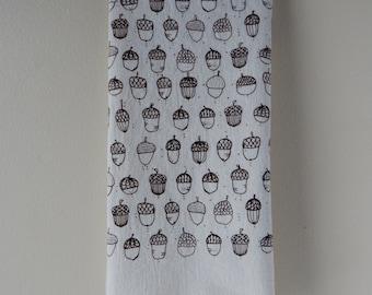 Kitchen Towel, Hand Printed Kitchen Towel, Acorns, Natural Cotton, Tea Towel