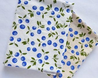 Kitchen Towel, Hand Printed, Blueberries, Blueberry Kitchen Towel, Cotton Towel