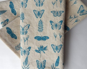 Cloth Napkins, Hand Printed Butterfly Floral, Set of 4 Natural Linen / Cotton Blend