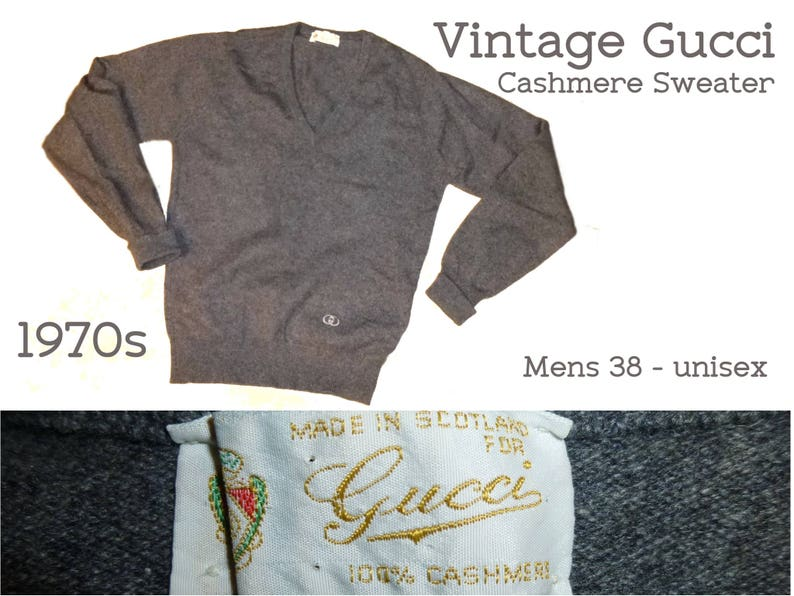 b5302864a Gucci Sweater Double G Embroidered Logo. Purchased in 1977. | Etsy