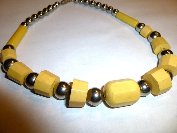 Vintage Yellow Bakelite and Chrome Necklace. Europ