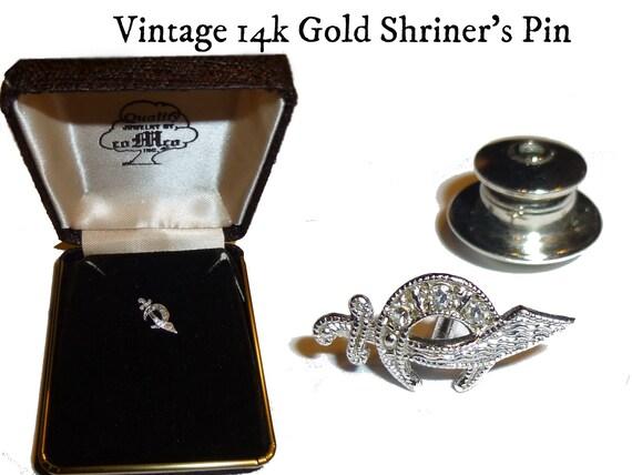14k White Gold Vintage Masonic Shriner Lapel or Ta