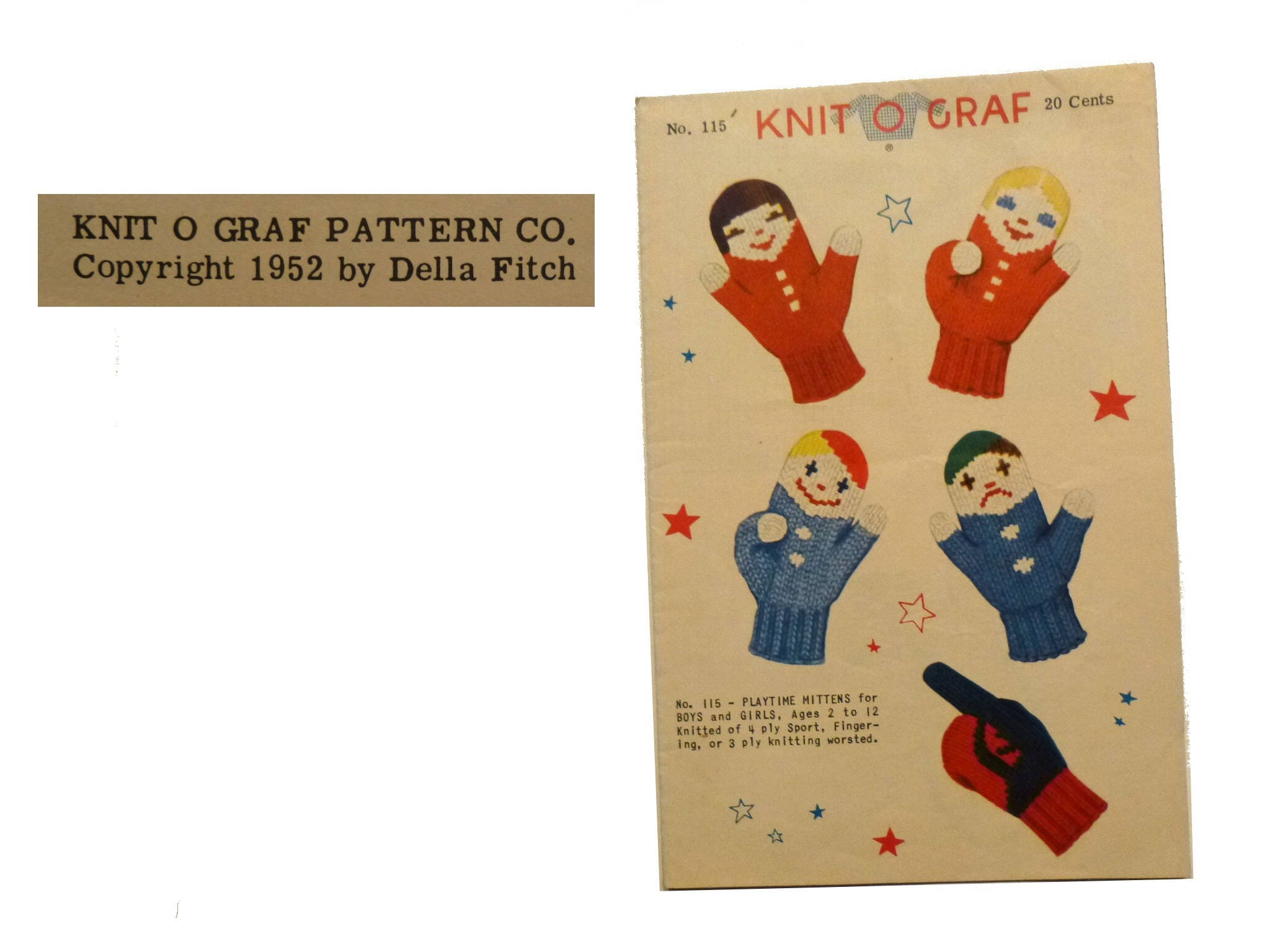 Mid Century Kid\'s Mittens Pattern. 1952 Knit O Graf by Della Fitch ...