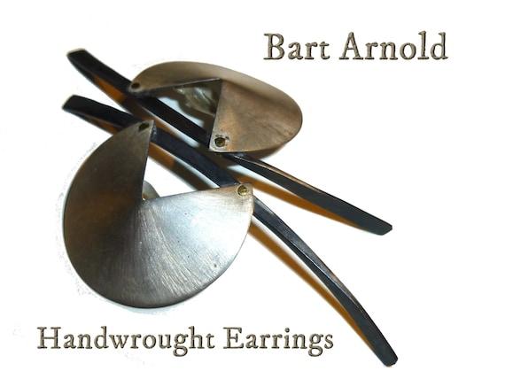 Vintage Modernist Earrings. Large Clip Ons. Signe… - image 1