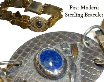 """Post Modern Brutalist Bracelet. Sterling Silver and Semi-Precious Stones. 7.25"""" long. Signed """"STERLING MA""""."""