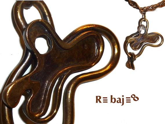 Early Vintage Francisco Rebajes Copper Amoeba Pend