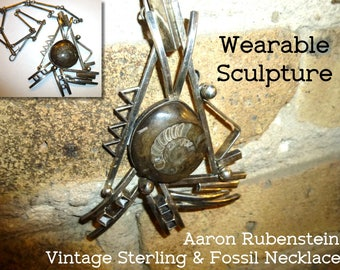 Aaron Rubenstein Wearable Sculpture Necklace. Sterling & Ammonoid Fossil. Vintage Statement Jewelry. Signed. Dated. 1995. Hand Wrought