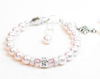 Personalized Newborn Bracelet - Baptism Bracelet - Pink Baby Bracelet - Baby Girl Bracelet - Infant Bracelet - Girl Christening Gift